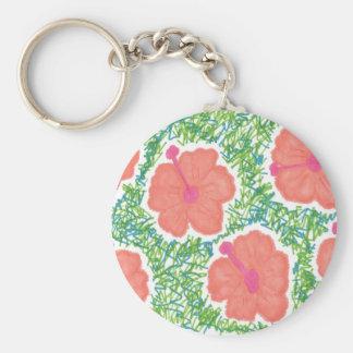 Hibiscus Pop Art Pattern Key Ring