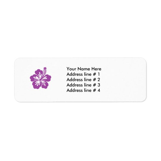 hibiscus purple flower address label