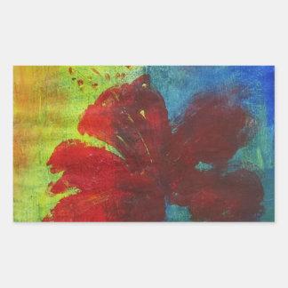hibiscus rectangular sticker