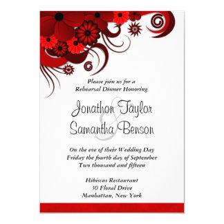 "Hibiscus Red Wedding Rehearsal Dinner Invitations 5"" X 7"" Invitation Card"