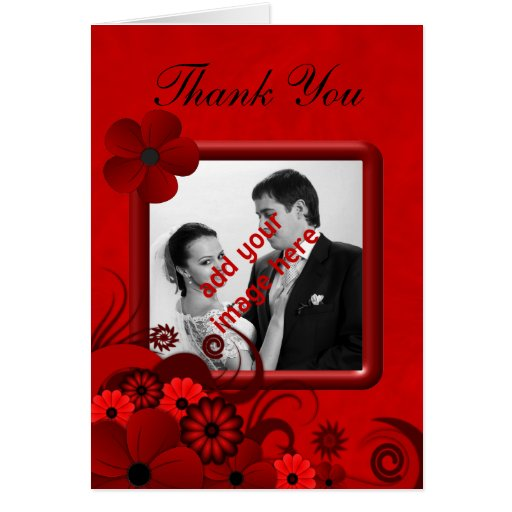 Hibiscus Red Wedding Thank You Photo Note Cards Cards