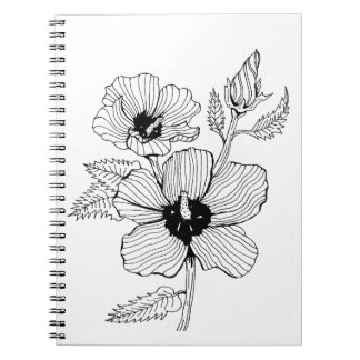 Hibiscus Rose of Sharon Flower Notebooks