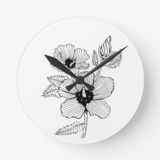 Hibiscus Rose of Sharon Flower Round Clock