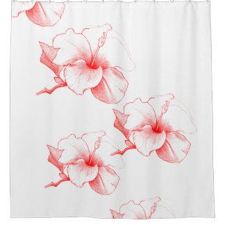 Hibiscus Sketch (White) Shower Curtain