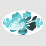 Hibiscus surf style oval sticker