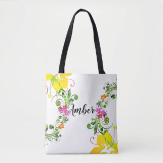 Hibiscus tropical  flower tote