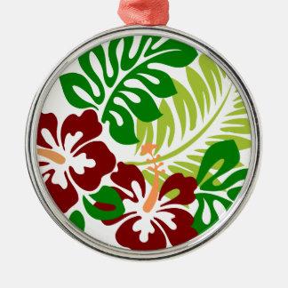 Hibiscus Tropical Flowers Metal Ornament