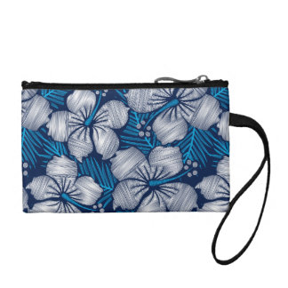 Hibiscus tropical printed embroidery coin purse