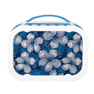 Hibiscus tropical printed embroidery lunch box