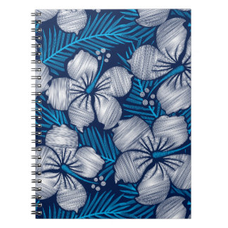 Hibiscus tropical printed embroidery spiral notebook