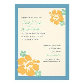 Hibiscus Wedding, hawaiian flowers, blue orange Card