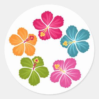 Hibiscus Wreath Round Sticker