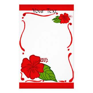 Hibiscus Your Text stationary Stationery