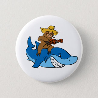 Hick sloth mounted on shark 6 cm round badge