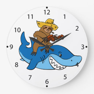 Hick sloth mounted on shark large clock