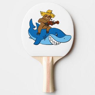 Hick sloth mounted on shark ping pong paddle