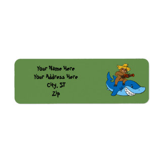 Hick sloth mounted on shark return address label