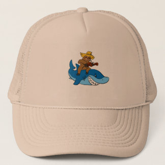 Hick sloth mounted on shark trucker hat