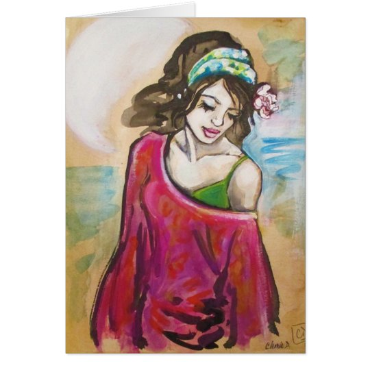 """Hickam Beach Girl"" Art Print Greeting Card"