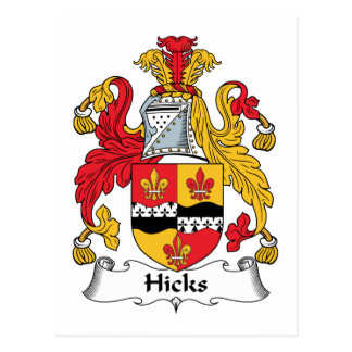Hicks Family Crest Postcard