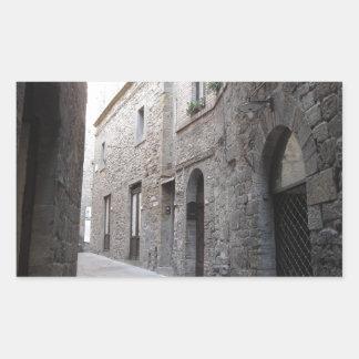 Hidden alley in Volterra village, province of Pisa Rectangular Sticker