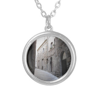 Hidden alley in Volterra village, province of Pisa Silver Plated Necklace