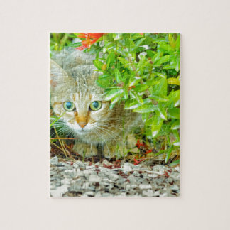 Hidden Domestic Cat with Alert Expression Jigsaw Puzzle