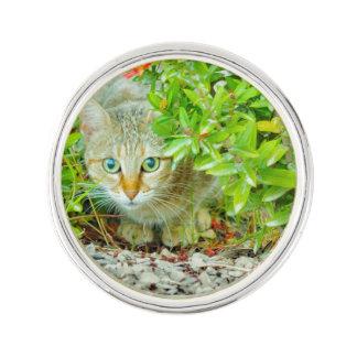 Hidden Domestic Cat with Alert Expression Lapel Pin