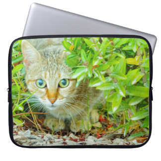 Hidden Domestic Cat with Alert Expression Laptop Sleeve