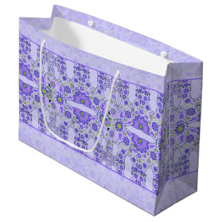 Hidden Elephant Flowers Purple Large Gift Bag