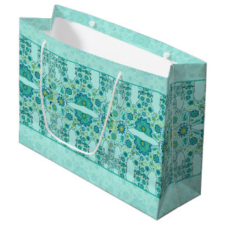 Hidden Elephant Flowers Teal Large Gift Bag