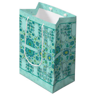 Hidden Elephant Flowers Teal Medium Gift Bag