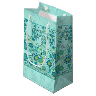 Hidden Elephant Flowers Teal Small Gift Bag