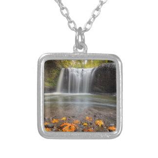 Hidden Falls in Clackamas Oregon fall season Silver Plated Necklace