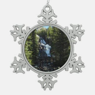 Hidden Falls in Grand Teton National Park Snowflake Pewter Christmas Ornament