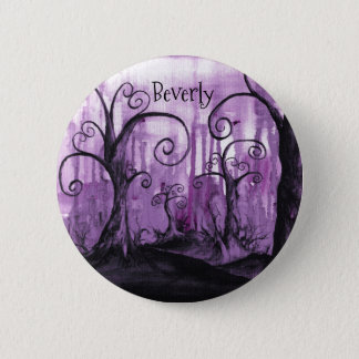 Hidden Hearts Trees Purple Fantasy Art Your Name 6 Cm Round Badge