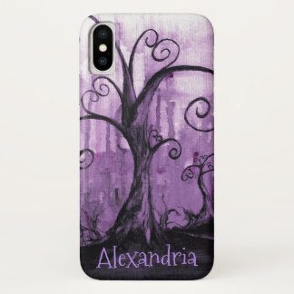 Hidden Hearts Trees Purple Fantasy Art Your Name iPhone X Case