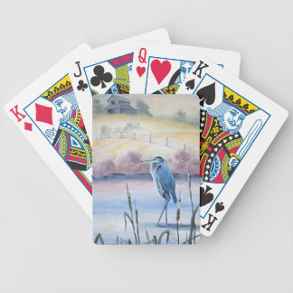 Hidden Valley Blue Heron Pastel Acrylic Art Bicycle Playing Cards