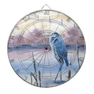 Hidden Valley Blue Heron Pastel Acrylic Art Dartboard