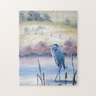 Hidden Valley Blue Heron Pastel Acrylic Art Jigsaw Puzzle