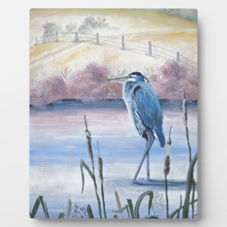 Hidden Valley Blue Heron Pastel Acrylic Art Plaque