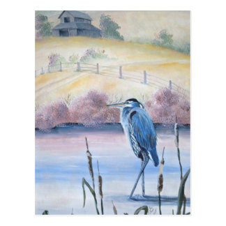 Hidden Valley Blue Heron Pastel Acrylic Art Postcard