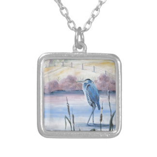 Hidden Valley Blue Heron Pastel Acrylic Art Silver Plated Necklace