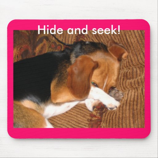Hide and seek! beagle mouse mat