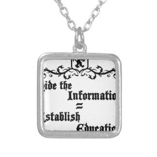 Hide The Information Establish Education Silver Plated Necklace