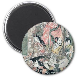Hideyoshi and his wives by Kitagawa, Utamaro Ukiyo Fridge Magnet