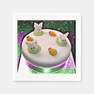 Hiding Bunny Cake Disposable Serviette