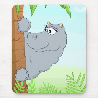 Hiding hippo mouse pad