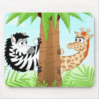 Hiding zebra and giraffe mousepad