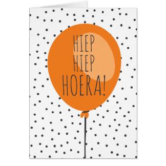 Hiep Hiep Hoera Orange Balloon Dutch Birthday Card